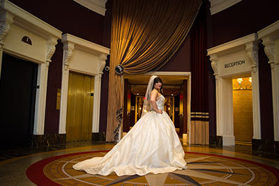 Bride at Kimpton Hotel Monaco Philadelphia's main entrance