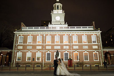 Bride and Groom in front of historic Philadelphia building