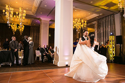 Bride and groom on ballroom dance floor