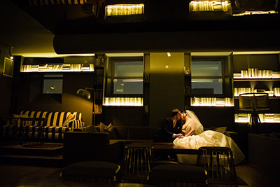 Bride and groom embracing at Kimpton Hotel Monaco Philadelphia